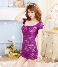 Sexy Lingerie Women's Lace Dress Underwear Babydoll Sleepwear + G-string