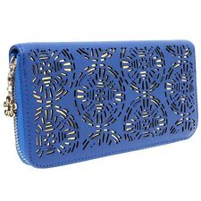 Women PU Leather Zipper Around Wallet Hollow Out Case Purse Clutch Long Bag Z