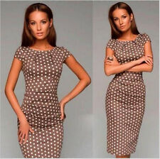 Cap Sleeve O-neck Polka Dot Wiggle Pencil Bodycon Dress Casual Party Work Summer