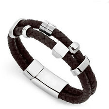 Men's Stainless Steel Genuine Leather Cuff Bracelet Charm Wristband Clasp