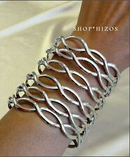 "SILVER or GOLD TALL 3"" INFINITY LINK METAL CUFF STATEMENT BRACELET NEW"