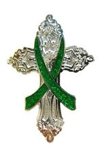Green Ribbon Cross Pin Cancer Cause Awareness Church Religious Christian Bling