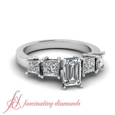 1.65 Ct Emerald Cut Diamond Dazzling Four Stone Engagement Ring H-Color 14K Gold