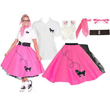 Hip Hop 50s Shop Womens 7 pc Poodle Skirt Halloween or Dance Costume Set
