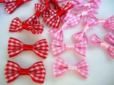 "40 Red,Pink Gingham Check Plaid Ribbon 1"" Bow Tie Applique/Craft/Trim F53-Color"