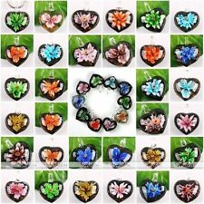 Various Heart Flower Lampwork Glass Dangle Charm Bead Pendant for Necklace Gift