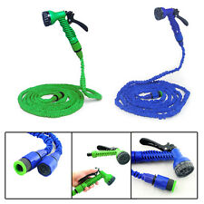 Latex 50,75,100 FT Expanding elastic Garden Water Hose/Pipe + Spray Nozzle
