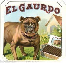 CIGAR BOX LABEL VINTAGE OUTER CANINE ANTIQUE GUARD DOG HOUSE CLASSIC ORIGINAL