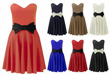 Womens Bow Bandeau Skater Dress Ladies Strapless Flare Party Dress Plus Size8-22