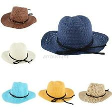 Girls Boy Kids Baby Summer Western Cowboy Straw Sun Hat Wide Brim Hat Cap A54