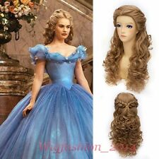 Lolita Hair Princess Cinderella Wig Long Curly Flaxen/ Brown Anime Cosplay Wig