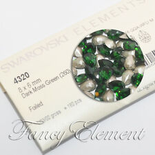 Swarovski 4320 Teardrop Dark Moss Green 8x6mm Crystal Sew On Rhinestones Beads