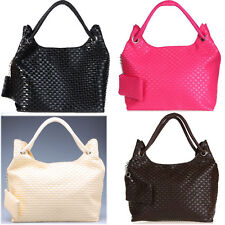 Women Hobo Woven PU Handbag Lady Shoulder Bag Purse Korean Style Black White