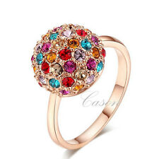 Brand Swarovski Crystal Lady Nice Ball Ring 18K Rose Gold Plated Jewelry 2 color