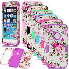 Rugged Matte Peony Flower Shockproof Dual Layer Combo Cases For Various Phones