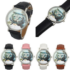 Casual Cute Cat Women Watches Leather Band Couple Watch Analog Quartz WristWatch