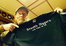 Stealth diggers Live Free Or Die T Shirt Black ~ Metal Detecting Siscatchiwah NH