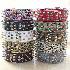 Spiked Studded Dog Collar Leather For Large Dog Pitbull Terrier Collar S M L XL