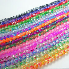 40pcs 8mm Rondelle Faceted Crystal Glass Floral mix color Loose Beads