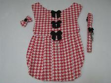 Red & White XS Houndstooth Dog Harness Dress Leash Hair Bow Charm Yorkie Maltese