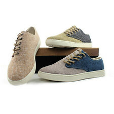 New Men Comfy  Lace-Up Sneakers Linen Woven Sports Shoes Trainers Skateboard