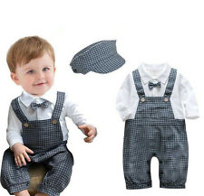 Boy Baby Toddler Formal Gentleman Party Romper clothes Jumpsuit Clothing + Hats