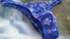 Mens Shiny open Stars Swimsuit Custom Thong, Rio, Half Brief Pouched S M L or XL