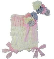 Baby Light Pink Cream Rosettes Lace Petti Romper Headband 2pcs Set