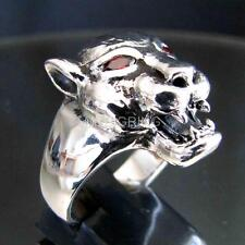 BIKER ANIMAL RING BIG CAT PUMA HEAD STERLING SILVER 925 RED CZ EYES ANY SIZE