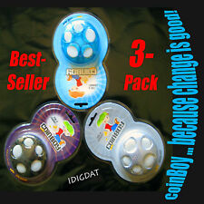 CoinBoy BEST SELLER 3-PACK Coin Dispenser Change Organizer 2 HOT COLOR CHOICES!