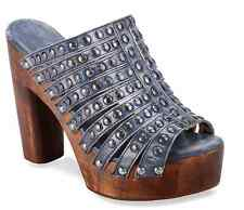 New Bed Stu Cobbler Series Studded Debby Wood Leather Wedge Open Toe