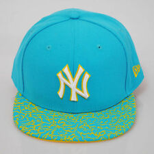 New Era 59fifty NY New York Yankees Crackle Visor Ice Blue Flat Peak Fitted Cap