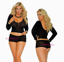 Plus Size CAMI TOP & BOOTY SHORT SET Long Sleeve BOYSHORT & CROP TOP QUEEN