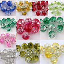 50/100PC Round Clear Crackle Crystal Glass High Quality Bead 6mm Jewelry Finding