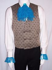 Teal Blue LACE Cravat & Cuffs Vampire Pirate Victorian Costume Adult Aqua Jabot