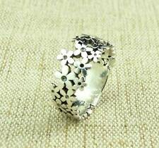 925 STERLING SILVER DAISY CHAIN FLOWER BAND RING JEWELLERY