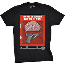 Mens In Case Of Zombies Break Glass T Shirt Cool Undead Tee For Guys