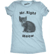 Womens Mr. Right Meow Cat T Shirt Cute Pet Owner Kitten Tee For Cat Lady