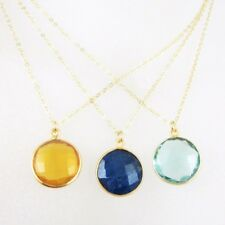 "Birthstone Necklace,22k Gold plated Sterling Silver Round Bezel Gemstone(16-24"")"