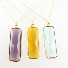 "Birthstone Necklace, 22k Gold Plated S.S Rectangle Bar Bezel Gemstone(16-24"")"