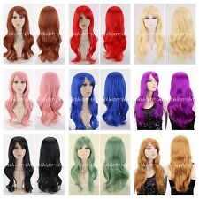 New Women Ladys Long Wig Curly Wavy Synthetic Anime Cosplay Party Wigs 12 Colors