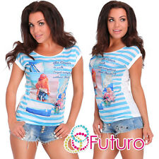 Party Sequined T-Shirt Ocean Print Crew Neck Top Casual Tunic Sizes 8-12 FB235