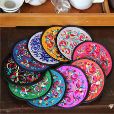 Vintage1 Pair Silk Embroidered Flower Round Cup Pad Mat Coaster Table Decoration