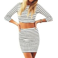 3/4 Sleeve Bare Midriff Tank Tops Package Hip Skirts Striped Women Two Pieces