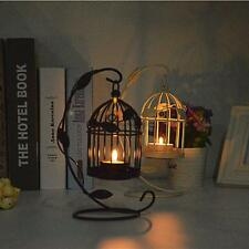 Black/White Hanging Birdcage Candle Holder Tealight Candlestick Stand Decor DIY