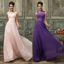 Stock Chiffon LACE Long Formal BallGown Evening Party Bridesmaid Dress Size 6-20