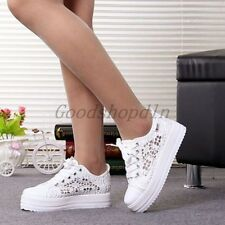New Women Canvas Mesh Shoes Platform Ladies Lace Up Casual Fashion Sneakers Size