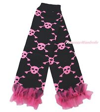 Halloween Pink Ruffles Skull Skeleton Girl Cotton Baby Black Leg Warmer Legging
