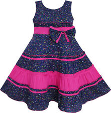Sunny Fashion Girls Dress Bow Tie Polka Dot Print Striped Pattern Pink Size 7-14
