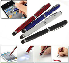 4 in 1 LED Laser Pointer Torch Touch Screen Stylus Ball Pen for iPhone 4 5 iPad